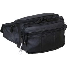 Amerileather Easy Traveller Fanny Pack ($40) ❤ liked on Polyvore featuring bags, black, bum bag, travel waist bag, leather fanny pack, leather pouch and coin pouch