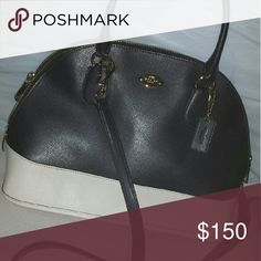 Authentic Coach Crossgrain Midnight/Chalk Body Bag Satchel measurements: 12.5x9x5.5, Handle drop 4 3/4, Condition: Only used once -shows no visible signs of wear. Includes crossbody detachable strap, inside zip pocket, zip closure, fabric lining. Coach Bags Satchels