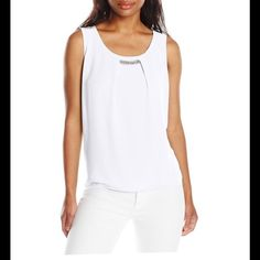 Beautiful white blouse New white blouse jeweled at the top no need for a necklace! NY Collection Tops Blouses