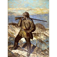 American Art: Scout, vintage original oil on board American Illustration, Illustration Art, Howard Pyle, West Indian, Mountain Man, Western Art, Wild West, American Art, Old School