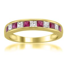 14k Yellow Gold Princess-cut Diamond and Red Ruby Wedding Band Ring (5/8 cttw, H-I, I1-I2)