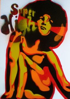 set of 3 afro women paintings on card,stencils and spraypaints,pop,urban,wall art,america,culture,70s,blacksploitation,d