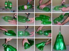 recycling basteln, besen aus grüner fl