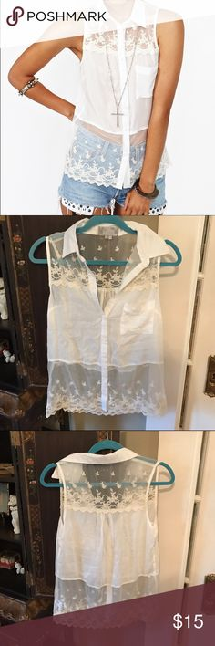 🆕Nasty Gal Solemio White Lace Tank Never worn. Lace and mesh tank top with collar. Purchased from Nasty Gal and the brand is Solemio. Nasty Gal Tops Tank Tops