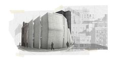 Rendering- View from the corner of Buckingham Gate and Caxton Street. Paper Architecture, Architecture Graphics, Architecture Portfolio, Interior Architecture, Buckingham Gate, Aarhus, Thesis, Facade, Architectural Drawings