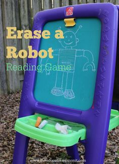 Erase a Robot Reading Game gets kids outside and READING! Fun & Easy Activity to make and play. Perfect Idea for kids ages 3-7!
