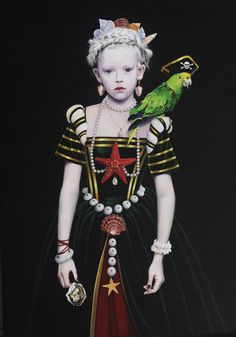 "Saatchi Online Artist: Titti Garelli; Acrylic, Painting ""Little Black Flagg and the Pirate Parrot"""