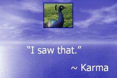 """I saw that."" ~ Karma"