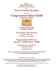 """Hi @RepAdamSchiff! Why did Soros-tied Ukraninan Arms Dealer Igor Pasternak hold a fundraiser for you? #ComeyHearing"""