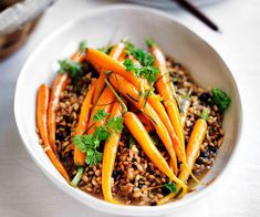 Australian Gourmet Traveller recipe for Rosemary-glazed carrots with barley pilaf