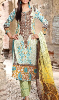 Buy Multicolor Embroidered Cotton Lawn Dress by Zanisha 2016