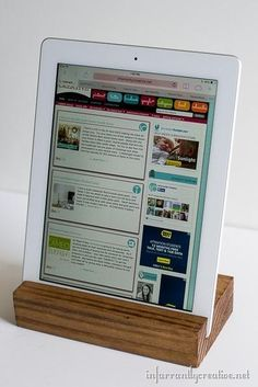 Create an iPad or tablet stand using a piece of scrap wood. #DIY