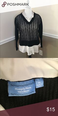Simply Vera XL Black Sweater with attached shirt Looks like two shirts- attached black sweater to off-white collar and shirt bottom. Always get a ton of compliments when I've worn this! Pet Free, Smoke Free Home. Simply Vera Vera Wang Sweaters