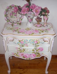 **I LOVE THIS TABLE...SO PRETTY!!**  Image detail for -Antique French Night Table blush