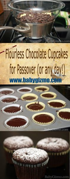 Flourless Chocolate Cupcakes for Passover (or any day!) This is an incredibly delicious recipe that HAPPENS to be kosher for Passover! #Flourless #Chocolate #Passover