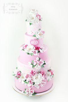 Pink floral wedding cake cakesdecor.com
