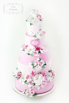 Pink floral wedding cake cakesdecor.com