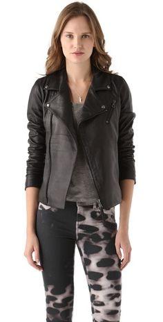 Lot78 Biker Leather Jacket inspired by #JessicaBiel. Shop #DMLooks at DivaMall.tv