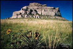 Courthouse Rock - is located near Bridgeport in the western part of Nebraska.  It too was a landmark for pioneers traveling west.