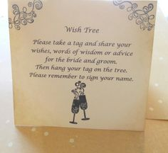 Wish Card Instruction Sign Wedding Tree Instructions Hand Stamped Champagne Glasses With Retro Swirls