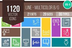 1120 Line Multicolor Icons (V6) by IconBunny on @creativemarket