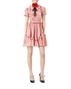 5f4e95ddcef Gucci Cotton Muslin Short-Sleeve Dress with Ruffles