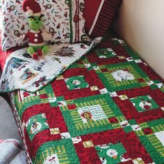 Don't let the Grinch steal your Christmas spirit. Make this twin size quilt featuring prints of scenes from the classic holiday story by Dr.Quilt designed by Chloe Anderson and Colleen Reale of Toadusew. Quilt size is 72 Bed Quilt Patterns, Christmas Quilt Patterns, Christmas Sewing, Christmas Crafts, Christmas Quilting, Christmas Ideas, Christmas Blocks, Christmas Time, Holiday Ideas