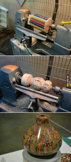 pencil vase I don't own a lathe and am not planing on getting one, but this is so cool! - Colored pencil vaseI don't own a lathe and am not planing on getting one, but this is so cool! Lathe Projects, Wood Turning Projects, Wood Projects, Craft Projects, Wood Turning Lathe, Project Ideas, Auction Projects, Woodworking Jigs, Woodworking Projects