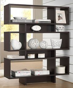 This Dark Brown Six-Tier Modern Bookshelf is perfect! #zulilyfinds