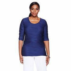 Slinky® Brand Wave-Knit Tee with 3/4 Sleeves - www.hsn.com