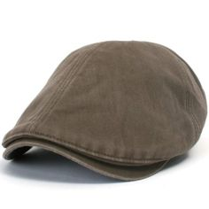 7efe2c1be977e ililily Washed Cotton Flat Cap Cabbie Hat Gatsby Ivy Irish Hunting Newsboy  Stretch at Amazon Men s Clothing store