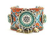 Indian gypsy queen - bohemian hippie - ribbon studs and swarovski rhinestones - wide cuff bracelet - orange and turquoise statement jewelry