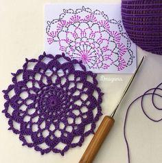 crochet mandala pattern Draiguna: Arcanoweave Part 1 Free Crochet Doily Patterns, Crochet Circles, Crochet Blocks, Crochet Diagram, Crochet Chart, Crochet Squares, Thread Crochet, Crochet Motif, Mandala Crochet