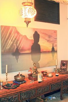 Meditation room: Buddha Statue, Singing Brass Bowls and Turkeys Lamp -Tara Design, Los Angeles,CA. www.tara-design.com
