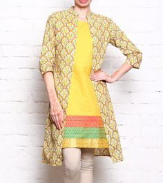 Mustard Yellow Long Jacket Kurta