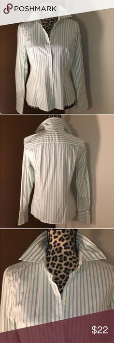 Ann Taylor Button Up Blouse 98%cotton, 2% spandex Button up Blouse with French cuffs.  White with green stripes. Ann Taylor Tops Blouses