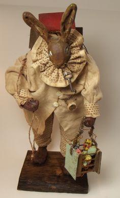 Kim's Klaus~OoaK Handmade Primitive Bunny Rabbit~Eggs~ Vintage Antique Easter