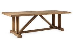 Reclaimed Salvaged Solid Wood Dining Table, Vintage and Rustic, Furniture Care, Solid Wood Furniture, Furniture Making, Furniture Ideas, Trestle Table, Solid Wood Dining Table, Dining Tables, Kitchen Tables, Wood Table