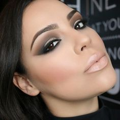 SMOKEY EYES WITH NUDE LIPS. VERY FRESH LOOK