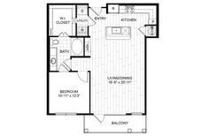 A12 – One Bedroom Apartment / One Bathroom  967 Square Feet