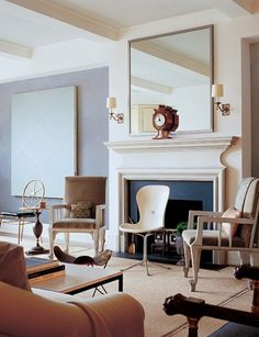 Victoria Hagan, Architectural Digest - great mix of chair designs Seaside Apartment, Interior Decorating