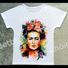 Artsy Frida Kahlo T-Shirt| XS - LARGE Available Super Artsy Frida Kahlo T-shirt  | SIZE XTRA SMALL, SMALL,  MEDIUM, AND LARGE  AVAILABLE|        To purchase please see the listing with the size you need. These T-Shirts RUN SMALL MEANING THE SIZE SMALL FITS LIKE A EXTRA SMALL AND THE MEDIUM FITS LIKE A SMALL AND SO ON .... Please ORDER 1 size up! Tops Tees - Short Sleeve