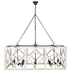 This oversized, geometric caged pendant measure four feet across. It's perfect for a large kitchen table or over a kitchen island. Put it as a focal point in a