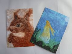 'Red Squirrel' and 'Hare by Moonlight' - Postcards of two hand-felted artworks by Deborah Iden.  You can see more by LittleDeb on Facebook and Etsy.