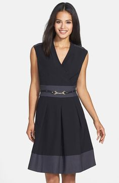 Free shipping and returns on Ellen Tracy Colorblock Stretch Fit & Flare Dress at Nordstrom.com. A chic surplice neckline and a belted waist lend classic details to a versatile stretch-infused dress modernized with cool color blocking.