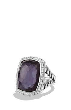 David Yurman 'Albion' Ring with Diamonds in Black Orchid
