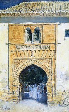 Frederick Childe Hassam, Gate of the Alhambra, c. 1883. 50.8 x 33cm (20 x 13 in), Watercolour and gouache on paper. Private collection.