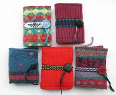 Felted wool reclaimed fabric needle book £10.50, via Etsy.