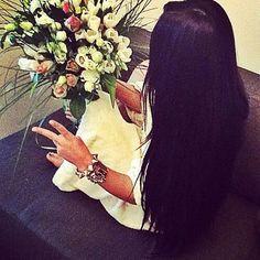 Long black hair in a block color