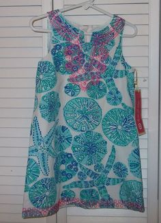 Lilly Pulitzer Target Dress 4T Sea Urchin For You White Blue Beach Embroidered  #LillyPulitzer #Everyday